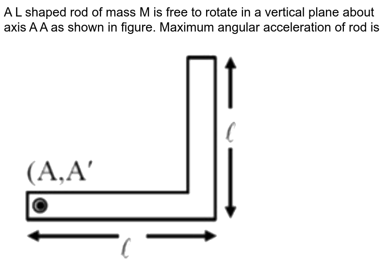 """A L shaped rod of mass M is free to rotate in a vertical plane about axis A A as shown in figure. Maximum angular acceleration of rod is <br> <img src=""""https://d10lpgp6xz60nq.cloudfront.net/physics_images/NTA_NEET_SET_23_E01_030_Q01.png"""" width=""""80%"""">"""