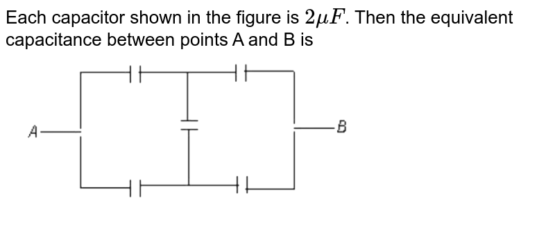 """Each capacitor shown in the figure is `2muF`. Then the equivalent capacitance between points A and B is  <br> <img src=""""https://d10lpgp6xz60nq.cloudfront.net/physics_images/NTA_NEET_SET_96_E01_010_Q01.png"""" width=""""80%"""">"""