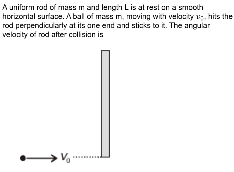 """A uniform rod of mass m and length L is at rest on a smooth horizontal surface. A ball of mass m, moving with velocity `v_0`, hits the rod perpendicularly at its one end and sticks to it. The angular velocity of rod after collision is <br> <img src=""""https://d10lpgp6xz60nq.cloudfront.net/physics_images/NTA_NEET_SET_106_E01_034_Q01.png"""" width=""""80%"""">"""