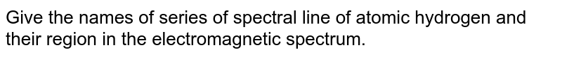 Give the names of series of spectral line of atomic hydrogen and their region in the electromagnetic spectrum.