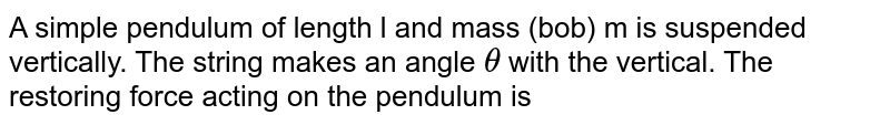 A simple pendulum of length l and mass (bob) m is suspended vertically. The string makes an angle `theta` with the vertical. The restoring force acting on the pendulum is