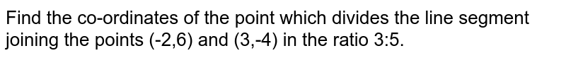 Find the co-ordinates of the point which divides the line segment joining the points (-2,6) and (3,-4) in the ratio 3:5.