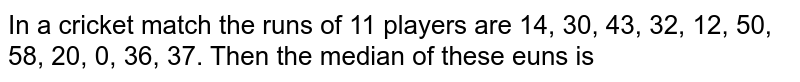 In a cricket match the runs of 11 players are 14, 30, 43, 32, 12, 50, 58, 20, 0, 36, 37. Then the median of these euns is
