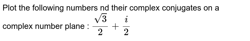 Plot the following numbers nd their complex conjugates on a complex number plane : ` sqrt(3)/2+i/2`