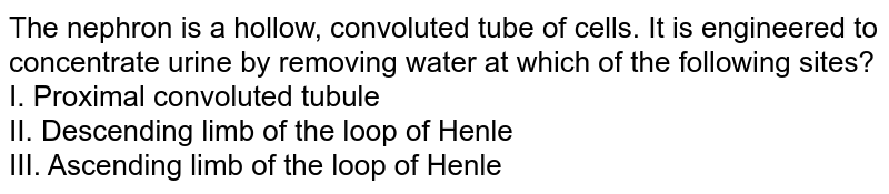 The nephron is a hollow, convoluted tube of cells. It is engineered to concentrate urine by removing water at which of the following sites? <br> I. Proximal convoluted tubule <br> II. Descending limb of the loop of Henle <br> III. Ascending limb of the loop of Henle