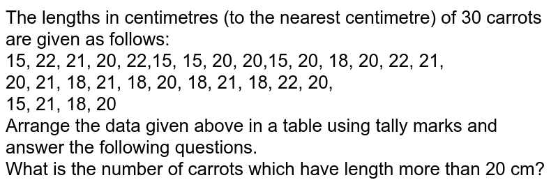 The lengths in centimetres (to the nearest centimetre) of 30 carrots are given as follows: <br> 15, 22, 21, 20, 22,15, 15, 20, 20,15, 20, 18, 20, 22, 21,<br> 20, 21, 18, 21, 18, 20, 18, 21, 18, 22, 20, <br> 15, 21, 18, 20 <br> Arrange the data given above in a table using tally marks and answer the following questions. <br> What is the number of carrots which have length more than 20 cm?