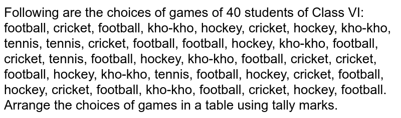 Following are the choices of games of 40 students of Class VI: <br> football, cricket, football, kho-kho, hockey, cricket, hockey, kho-kho, <br>  tennis, tennis, cricket, football, football, hockey, kho-kho, football, <br>  cricket, tennis, football, hockey, kho-kho, football, cricket, cricket, <br> football, hockey, kho-kho, tennis, football, hockey, cricket, football, <br> hockey, cricket, football, kho-kho, football, cricket, hockey, football.  <br>   Arrange the choices of games in a table using tally marks.