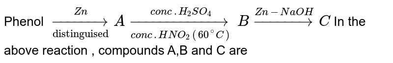 """Phenol `underset(""""distinguised"""")overset(Zn)rarrAunderset(""""conc.HNO_2(60^@C))overset(conc.H_2SO_4)rarrBoverset(Zn-NaOH)rarrC`  In the above reaction  , compounds A,B and C are"""