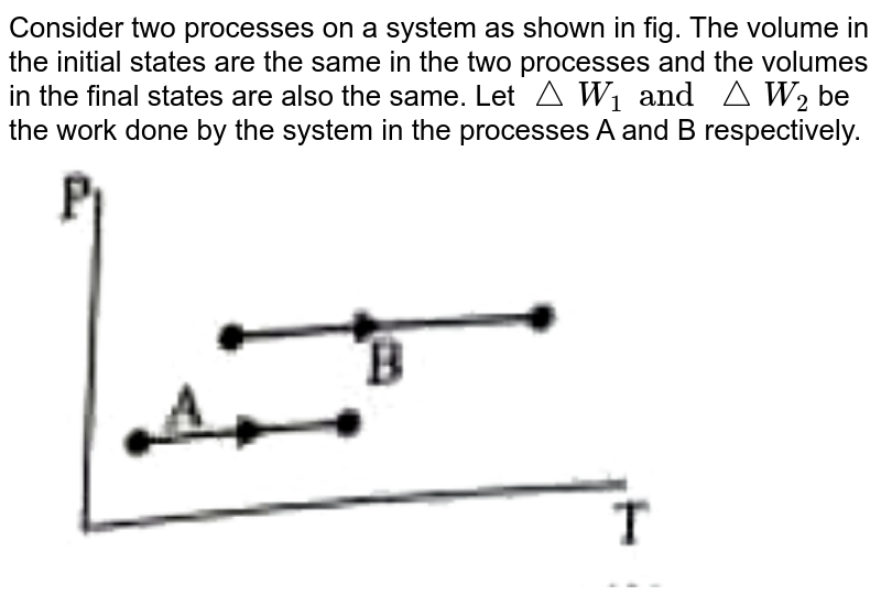 """Consider two processes on a system as shown in fig. The volume in the initial states are the same in the two processes and the volumes in the final states are also the same. Let `triangleW_(1) and triangleW_(2)` be the work done by the system in the processes A and B respectively. <br> <img src=""""https://doubtnut-static.s.llnwi.net/static/physics_images/PW_NEET_45_DAY_PHY_C10_E02_005_Q01.png"""" width=""""80%"""">"""