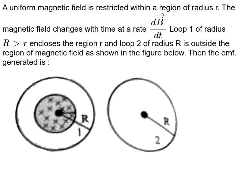 """A uniform magnetic field is restricted within a region of radius r. The magnetic field changes with time at a rate `(d vecB)/(dt)` Loop 1 of radius `R gt r` encloses the region r and loop 2 of radius  R is outside the region of magnetic field as shown in the figure below. Then the emf. generated is : <br> <img src=""""https://doubtnut-static.s.llnwi.net/static/physics_images/PW_NEET_45_DAY_PHY_C19_E03_010_Q01.png"""" width=""""80%"""">"""