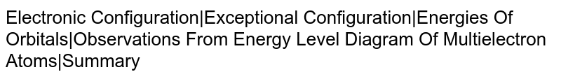 Electronic Configuration Exceptional Configuration Energies Of Orbitals Observations From Energy Level Diagram Of Multielectron Atoms Summary