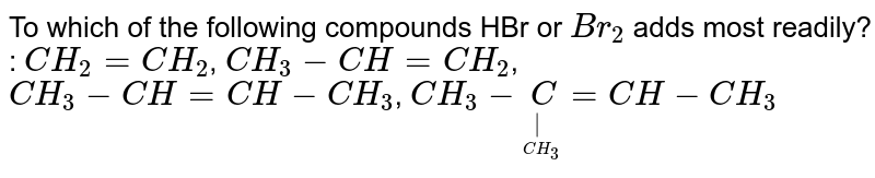 To which of the following compounds HBr or `Br_2` adds most readily?  :  `CH_2 = CH_2`,  `CH_3 - CH = CH_2`, `CH_3 - CH = CH - CH_3`, `CH_3 - underset(underset(CH_3)(|))C = CH - CH_3`