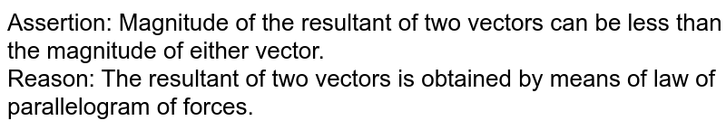 Assertion: Magnitude of the resultant of two vectors can be less than the magnitude of either vector.  <br> Reason: The resultant of two vectors is obtained by means of law of parallelogram of forces.