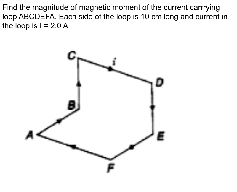 """Find the magnitude of magnetic moment of the current carrrying loop ABCDEFA. Each side of the loop is 10 cm long and current in the loop is I = 2.0 A <br> <img src=""""https://doubtnut-static.s.llnwi.net/static/physics_images/BRL_NEET_SP_PHY_XII_V01_C04_SLV_006_Q01.png"""" width=""""80%"""">"""