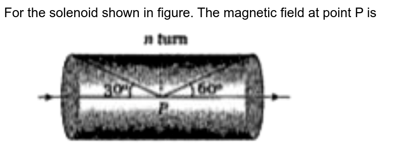 """For the solenoid shown in figure. The magnetic field at point P is <br> <img src=""""https://doubtnut-static.s.llnwi.net/static/physics_images/BRL_NEET_SP_PHY_XII_V01_C04_E02_015_Q01.png"""" width=""""80%"""">"""