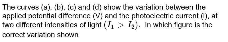 The curves (a), (b), (c) and (d) show the variation between the applied potential difference (V) and the photoelectric current (i), at two different intensities of light `(I_(1) >I_(2)).` In which figure is the correct variation shown