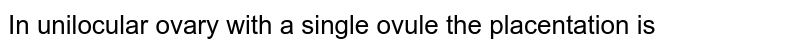 In unilocular ovary with a single ovule the placentation is