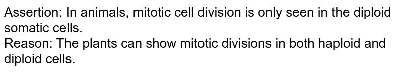 Assertion: In animals, mitotic cell division is only seen in the diploid somatic cells. <br> Reason: The plants can show mitotic divisions in both haploid and diploid cells.