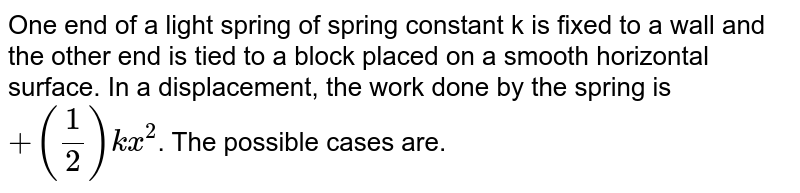 One end of a light spring of spring constant k is fixed to a wall and the other end is tied to a block placed on a smooth horizontal surface. In a displacement, the work done by the spring is `+(1/2)kx^(2)`. The possible cases are.