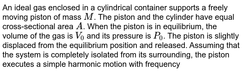 An ideal gas enclosed in a cylindrical container supports a freely moving piston of mass `M`. The piston and the cylinder have equal cross-sectional area `A`. When the piston is in equilibrium, the volume of the gas is `V_(0)`  and its pressure is `P_(0)`. The piston is slightly displaced from the equilibrium position and released. Assuming that the system is completely isolated from its surrounding, the piston executes a simple harmonic motion with frequency