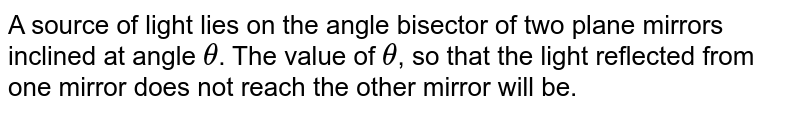 A source of light lies on the angle bisector of two plane mirrors inclined at angle `theta`. The value of `theta`, so that the light reflected from one mirror does not reach the other mirror will be.