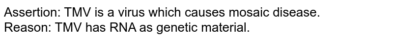 Assertion: TMV is a virus which causes mosaic disease. <br> Reason: TMV has RNA as genetic material.