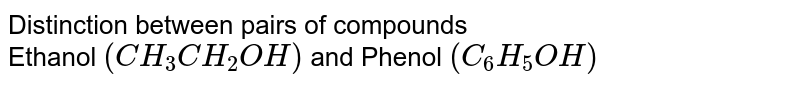 Distinction between pairs of compounds <br> Ethanol `(CH_(3)CH_(2)OH)` and Phenol `(C_(6)H_(5)OH)`