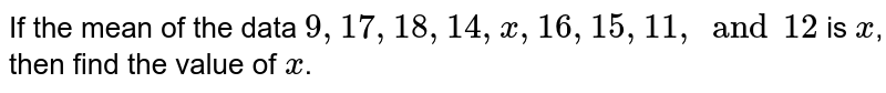 If the mean of the data `9, 17, 18, 14, x, 16, 15, 11, and 12` is `x`, then find the value of `x`.