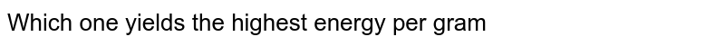 Which one yields the highest energy per gram