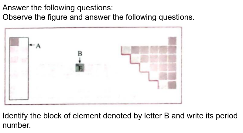 """Answer the following questions:<br>  Observe the figure and answer the following questions.<br> <img src=""""https://doubtnut-static.s.llnwi.net/static/physics_images/NAV_SCT_X_P01_C02_E13_028_Q01.png"""" width=""""80%""""><br> Identify the block of element denoted by letter B and write its period number."""
