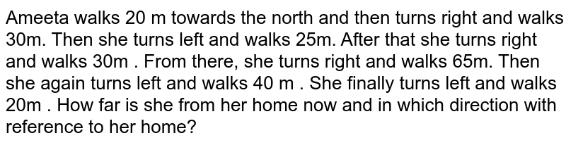 Ameeta walks 20 m towards the north and then turns right and walks 30m. Then she turns left and walks 25m. After that she turns right and walks 30m . From there, she turns right and walks 65m. Then she again turns left and walks 40 m . She finally turns left and walks 20m . How far is she from her home now and in which direction with reference to her home?