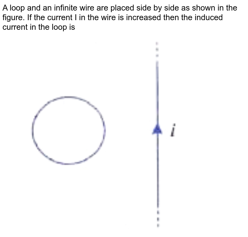 """A loop and an infinite wire are placed side by side as shown in the figure. If the current I in the wire is increased then the induced current in the loop is   <br>  <img src=""""https://doubtnut-static.s.llnwi.net/static/physics_images/CEN_JEE_PHY_X_C14_E01_044_Q01.png"""" width=""""80%"""">"""