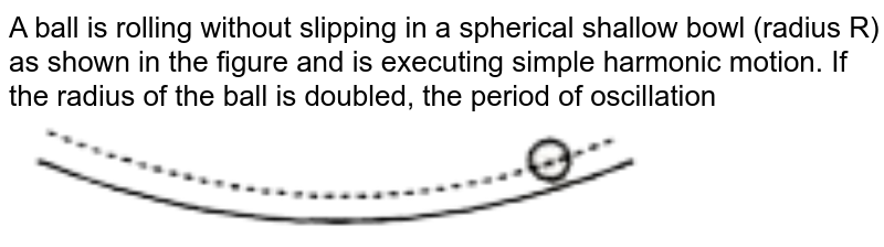 """A ball is rolling without slipping in a spherical shallow bowl (radius R) as shown in the figure and is executing simple harmonic motion. If the radius of the ball is doubled, the period of oscillation <br> <img src=""""https://doubtnut-static.s.llnwi.net/static/physics_images/RES_KVPY_13_SB_SX_E02_016_Q01.png"""" width=""""80%"""">"""