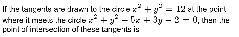 If the tangents are drawn to the circle  `x^(2)+y^(2)=12` at the point where it meets the circle `x^(2)+y^(2)-5x+3y-2=0`,  then the point of intersection of these tangents is