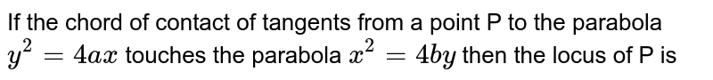If the chord of contact of tangents from a point P to the  parabola `y^2 = 4ax` touches the parabola `x^2= 4by` then the locus of P is