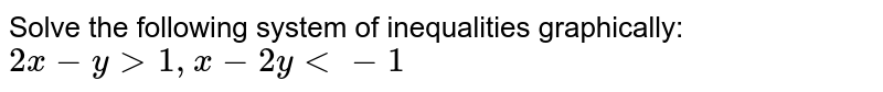Solve the following system of inequalities graphically : `2x-ygt1,x-2ylt-1`.