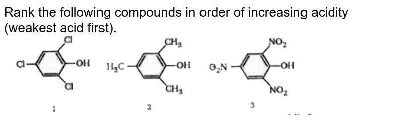 """Rank the following compounds in order of increasing acidity (weakest acid first).  <br> <img src=""""https://doubtnut-static.s.llnwi.net/static/physics_images/BLJ_MSC_ORG_CHE_JEE_C01_E01_083_Q01.png"""" width=""""80%"""">"""