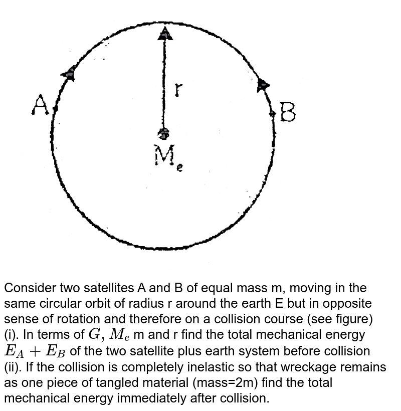 """<img src=""""https://d10lpgp6xz60nq.cloudfront.net/physics_images/ALN_PHY_C08(II)_E01_109_Q01.png"""" width=""""80%""""> <br> Consider two satellites A and B of equal mass m, moving in the same circular orbit of radius r around the earth E but in opposite sense of rotation and therefore on a collision course (see figure) <br> (i). In terms of `G,M_(e)` m and r find the total mechanical energy `E_(A)+E_(B)` of the two satellite plus earth system before collision <br> (ii). If the collision is completely inelastic so that wreckage remains as one piece of tangled material (mass=2m) find the total mechanical energy immediately after collision."""