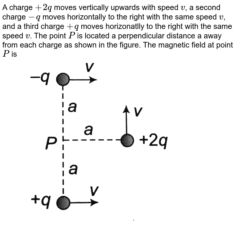 """A charge `+2q` moves vertically upwards with speed `v`, a second charge `-q` moves horizontally to the right with the same speed `v`, and a third charge `+q` moves horizonatlly to the right with the same speed `v`. The point `P` is located a perpendicular distance a away from each charge as shown in the figure. The magnetic field at point `P` is  <br> <img src=""""https://d10lpgp6xz60nq.cloudfront.net/physics_images/BMS_OBJ_XII_C04_E01_140_Q01.png"""" width=""""80%"""">"""