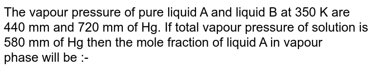 The vapour pressure of pure liquid A and liquid B at 350 K are <bR> 440 mm and 720 mm of Hg. If total vapour pressure of solution is <br> 580 mm of Hg then the mole fraction of liquid A in vapour <br> phase will be :-