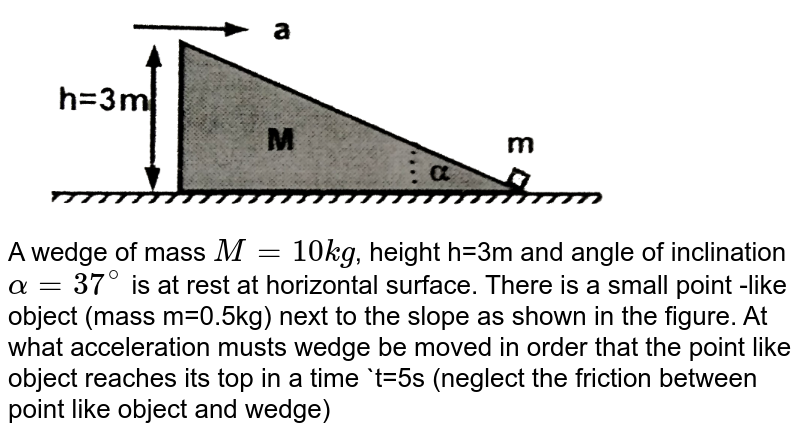"""<img src=""""https://d10lpgp6xz60nq.cloudfront.net/physics_images/FIT_JEE_PT_P1_E01_008_Q01.png"""" width=""""80%""""> <br> A wedge of mass `M=10kg`, height h=3m and angle of inclination `alpha=37^(@)` is at rest at horizontal surface. There is a small point -like object (mass m=0.5kg) next to the slope as shown in the figure. At what acceleration musts wedge be moved in order that the point like object reaches its top in a time `t=5s (neglect the friction between point like object and wedge)"""