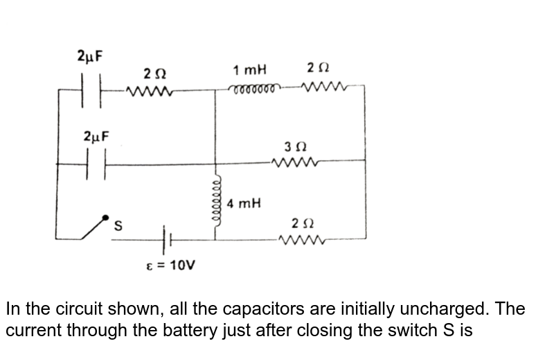 """<img src=""""https://d10lpgp6xz60nq.cloudfront.net/physics_images/FIT_JEE_PT_P2_E01_075_Q01.png"""" width=""""80%""""> <br> In the circuit shown, all the capacitors are initially uncharged. The current through the battery just after closing the switch 'S' is"""