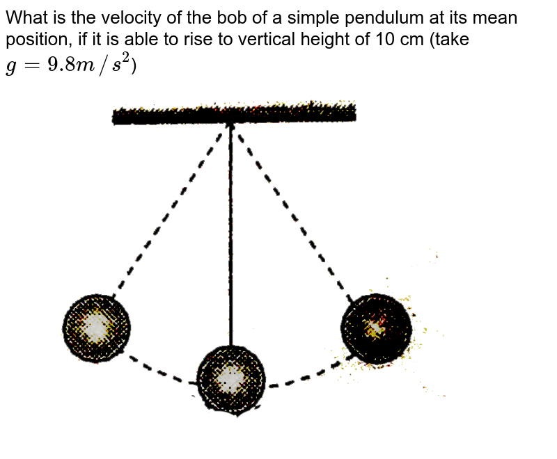 """What is the velocity of the bob of a simple pendulum at its mean position, if it is able to rise to vertical height of 10 cm (take `g=9.8m//s^(2)`) <br> <img src=""""https://d10lpgp6xz60nq.cloudfront.net/physics_images/ERRL_PHY_NEET_V01_C06_E01_118_Q01.png"""" width=""""80%"""">"""