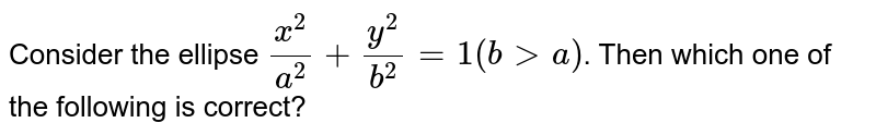 Consider the ellipse `x^2/a^(2) + y^(2)/b^(2) = 1 (b gt a)`. Then which one of the following is correct?
