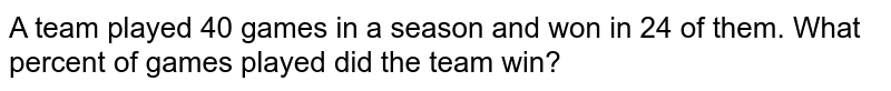 A team played 40 games in a season and won in 24 of them. What percent of games played did the team win?