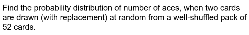 Find the probability distribution of number of aces, when two cards are drawn (with replacement) at random from a well-shuffled pack of 52 cards.
