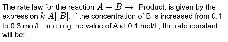 The rate law for the reaction `A+B to` Product, is given by the expression `k [A] [B]`. If the concentration of B is increased from 0.1 to 0.3 mol/L, keeping the value of A at 0.1 mol/L, the rate constant will be: