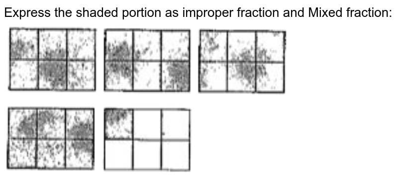 """Express the shaded portion as improper fraction and Mixed fraction:<br> <img src=""""https://doubtnut-static.s.llnwi.net/static/physics_images/SWN_MAT_VI_C05_E02_016_Q01.png"""" width=""""80%"""">"""