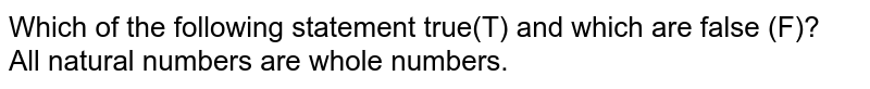 All natural numbers are whole numbers