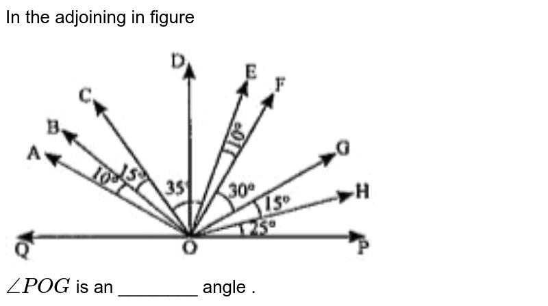 """In the adjoining in figure <br> <img src=""""https://doubtnut-static.s.llnwi.net/static/physics_images/ND_SM_MAT_VI_C05_E13_040_Q01.png"""" width=""""80%""""> <br> `anglePOG` is an ________ angle ."""